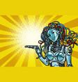 beautiful woman robot promoter vector image