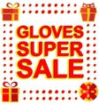 Big winter sale poster with GLOVES SUPER SALE text vector image vector image