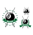 Billiards or pool sporting emblem vector image vector image