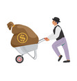 businessman pushing wheelbarrow with money bag vector image