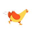 cartoon character happy hen fast running vector image vector image
