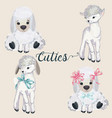 collection pretty lamb for easter design vector image vector image