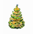 crismas fir-tree isolated on white bright vector image vector image