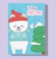 cute polar bear and tree with snow merry christmas vector image