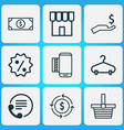 e-commerce icons set with sale badge contact info vector image vector image