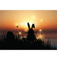 Easter bunny sat in grass against a sunset sky vector image vector image