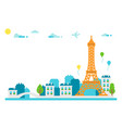 flat design eiffel tower paris vector image