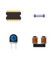 flat icon device set of resistor coil copper vector image vector image