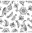 floral paisley hand drawn seamless pattern vector image