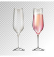 full and empty champagne glass isolated vector image vector image