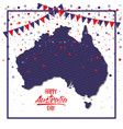 happy australia day poster with dark blue frame vector image vector image
