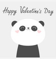 happy valentines day panda bear face head icon vector image vector image