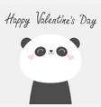 happy valentines day panda bear face head icon vector image