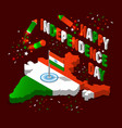 india isometric map in national flag tricolors vector image vector image