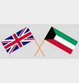 kuwait and uk kuwaiti and british flags vector image