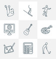 lifestyle icons line style set with headphone vector image