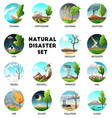 natural disaster round compositions vector image vector image