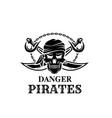 pirate skull head icon for piracy flag vector image vector image