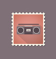 retro style tape recorder flat stamp with shadow vector image