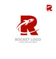 rocket logo in letter r flies a rocket vector image