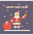 Santa claus with gift box and bag on night vector image vector image