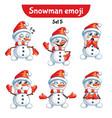 set of cute snowman characters set 5 vector image vector image