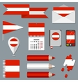 Set of icons with flag elements Austria vector image vector image