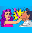 slap relationship men and women pop-art vector image