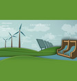 solar panel and wind turbine hydroelectric plant vector image vector image