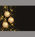 sparkling christmas balls on black background vector image vector image