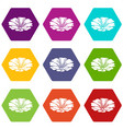 spring flower icons set 9 vector image vector image