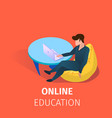 student online education using internet technology vector image