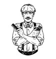 stylish mustached barber in irish cap vector image vector image