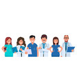 team doctors on a white background medical vector image vector image