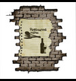Template restaurant menu brick wall and a piece of vector image vector image