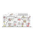 thin line art cooking poster banner vector image vector image