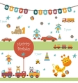Toys icons on white background vector image