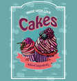 Vintage cakes with cream poster design