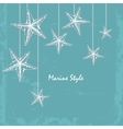 vintage Decorative blue sea card with starfishes vector image