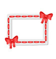 white frame with rounded edges decorated red tape vector image vector image