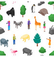 zoo seamless pattern background 3d isometric view vector image vector image