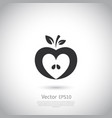 heart shaped apple logo label icon vector image