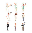 professional chefs and restaurant staff happy vector image