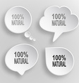 100 natural White flat buttons on gray background vector image