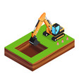 3d excavator is digging a pit for the foundation vector image