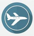 airplane symbol on white circle with a long shadow vector image vector image