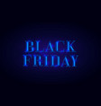 black friday banner design with neon light blue vector image