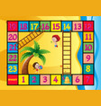 boardgame template with kids on the beach vector image