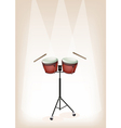 Bongo with Stand on Brown Stage Background vector image vector image