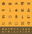 Cafe and restaurant color icons on orange vector image